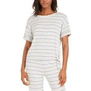 Alfani Womans Pajama Top XL Tie Front Gray Striped